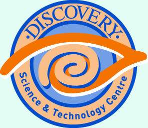 Discovery logo on light blue